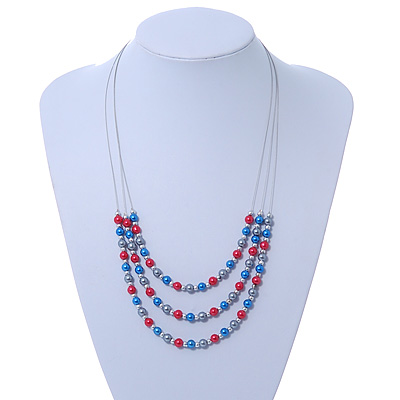 3 Strand, Layered Bead Wire Necklace In Silver Tone (Metallic Grey, Metallic Red, Metallic Blue) - 56cm Length