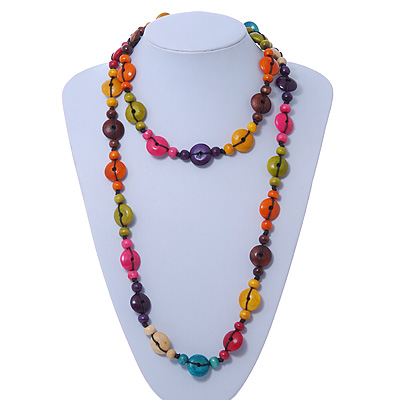Long Multicoloured Wood 'Button' Necklace - 120cm L