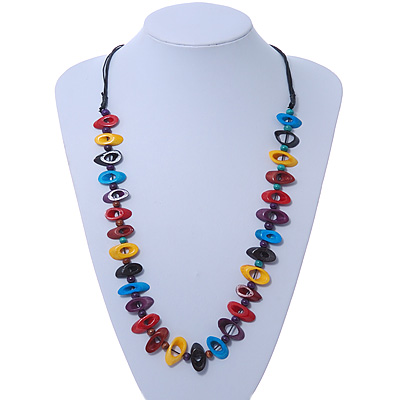Multicoloured Bone Bead Black Cotton Cord Necklace - 70cm Length