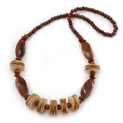 Brown Cocoa Wood & Sand Shell Bead Necklace - 68cm Length