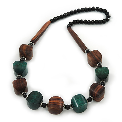Chunky Brown/Dark Green Wooden Bead Necklace - 80cm Length - main view