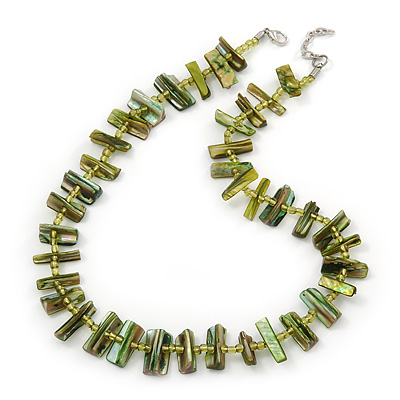 Olive Green Shell Nugget & Small Glass Bead Necklace In Silver Tone - 52cm Length/ 4cm Extension - main view