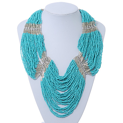 Chunky Turquoise & Transparent Coloured Glass Bead Bib Necklace In Silver Plating - 52cm Length/ 9cm Extension - main view
