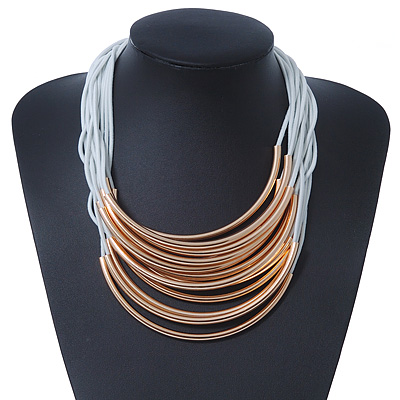 Multistrand Gold Tone Bars White Cotton Cord Necklace - 38cm Length