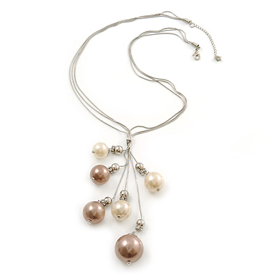 Rhodium Plated Snake Chains Necklace With Long Simulated Pearl Tassel - 60cm Length/ 7cm Extension