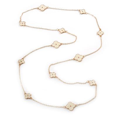 Long Stylish White Enamel Flower Necklace In Gold Plating - 132cm Length