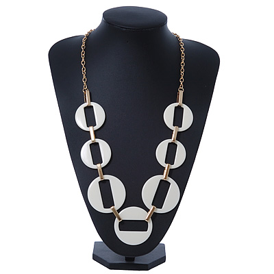 Long Open Round White Resin Bead Necklace In Gold Plating - 70cm Length/ 6cm Extension