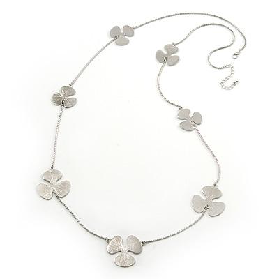 Long Rhodium Plated Textured 'Trefoil' Necklace - 100cm Length/ 6cm Extension