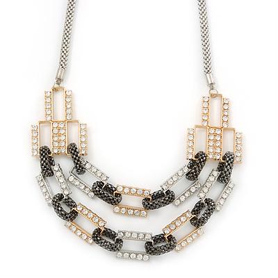 Silver/ Gold/ Black Tone Diamante Square Link Mesh Chain Necklace - 52cm Length/ 7cm Extension - main view