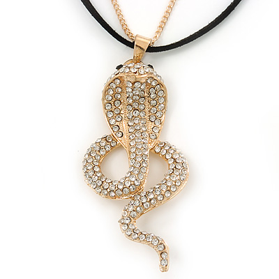Gold Plated Crystal 'Cobra' Pendant With Black Suede Cord & Gold Tone Chain - 70cm Length