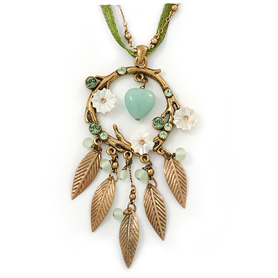 Vintage Inspired Mother of Pearl, Crystal, Glass Bead Floral Pendant On Silk Ribbon & Gold Tone Chain Necklace - 40cm Length/ 5cm Extender - main view