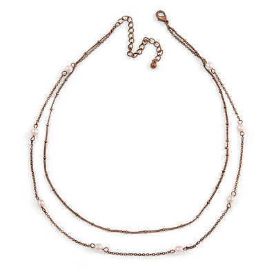 3 Strand, Layered Bead Necklace In Bronze Tone - 40cm L/ 6cm Ext