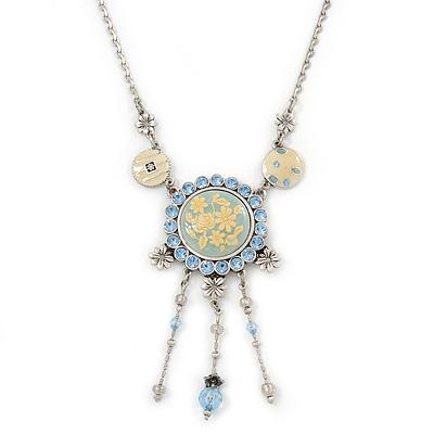 Vintage Inspired Light Blue Crystal, Enamel Floral Medallion Pendant Necklace In Pewter Tone Metal - 36cm Length/ 8cm Extension