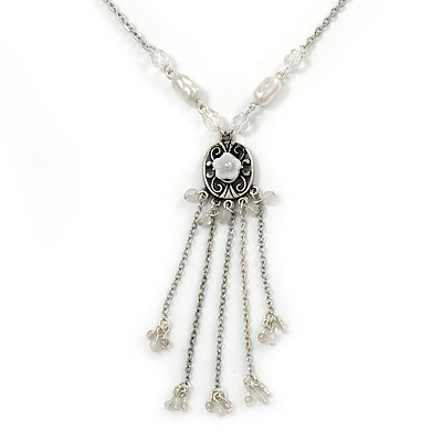 Vintage Inspired Shell Floral With Charms Pendant with Pewter Tone Pearl Bead Chain - 42cm L/ 5cm Ext