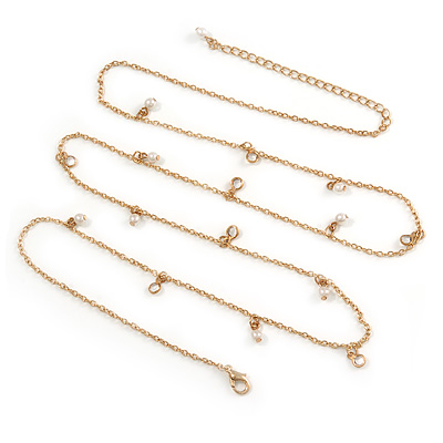 Long Delicate Chain with Pearl, Crystal Bead Charm In Gold Tone Necklace - 78cm L/ 8cm Ext