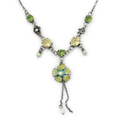 Vintage Inspired Green Crystal, Floral Charm Necklace In Pewter Tone Metal - 38cm Length/ 4cm Extension