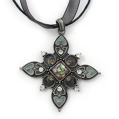 Victorian Style Grey Enamel Cross Pendant On Black Organza Ribbon - 48cm Length (Adjustable up to 64cm)