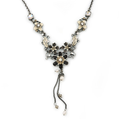 Grey, Cream Enamel Floral Y Shape Necklace In Pewter Tone Metal - 38cm L/ 6cm Ext - main view