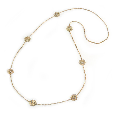 Long Gold Chain with Filigree Flower Motif Necklace - 106cm L