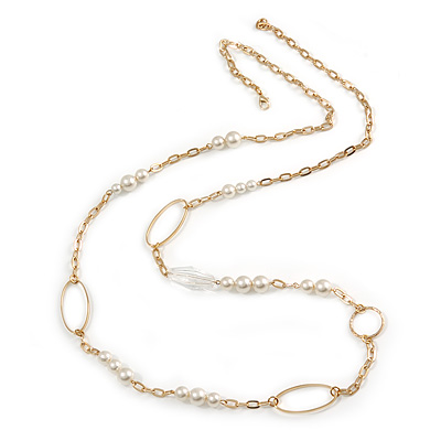 Long Chunky Chain with Oval Link, Pearl Bead Necklace - 124cm L