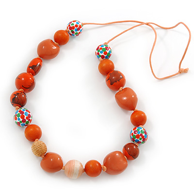 Long Orange Wood and Cotton Bead Cord Necklace - 88cm L