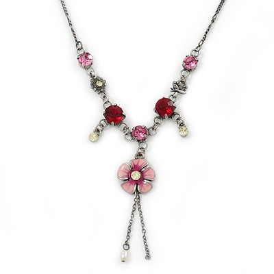 Vintage Inspired Fuchsia Crystal, Pink Floral Charm Necklace In Pewter Tone Metal - 38cm Length/ 4cm Extension