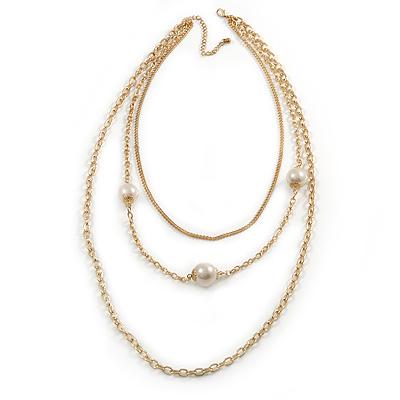 3 Strand Layered Gold Tone Chain with White Faux Pearl Necklace - 76cm L/ 8cm Ext