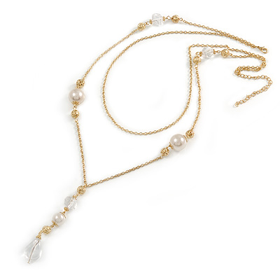 2 Strand Gold Tone Chain With Faux Pearl and Transparent Acrylic Bead Tassel Necklace - 66cm L/ 10cm Tassel/ 8cm Ext