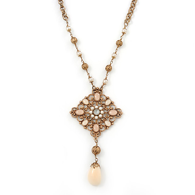 Vintage Inspired Square Filigree, Simulated Pearl Pendant With Chunky Round Link Chain In Antique Gold Metal - 38cm Length/ 6cm Extension