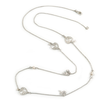 Vintage Inspired Heart, Freshwater Pearl, Flower Long Chain Necklace in Light Matt Silver Tone - 90cm L