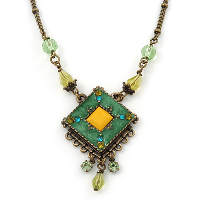 Vintage Inspired Green, Yellow Square Pendant On Bronze Tone Beaded Chain Necklace - 36cm Length/ 8cm Extension