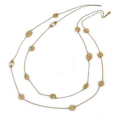 Long 2 Strand Matt Gold Floral Necklace - 98cm L