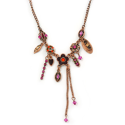 Vintage Inspired Purple Crystal, Enamel Floral Necklace In Bronze Tone - 38cm L/ 5cm Ext