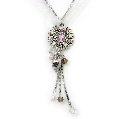 Crystal Flower Pendant With Charms With Silver Tone Chain & White Organza Ribbon - 38cm Length/ 7cm Extension