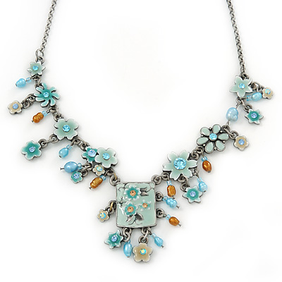 Vintage Inspired Light Blue Crystal, Enamel Flowers, Freshwater Pearls Charm Necklace In Burn Silver - 38cm Length/ 8cm Extension