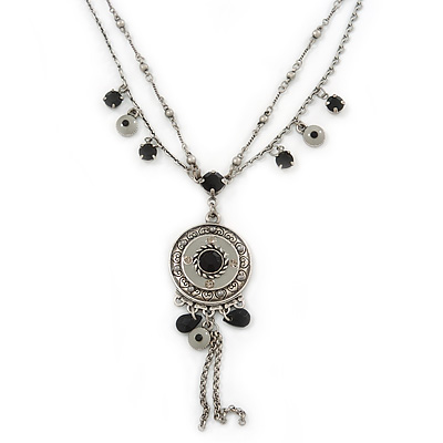 Vintage Inspired Charm, Bead Medallion With 38cm L/ 7cm Ext Double Chains In Pewter Tone