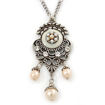 Vintage Inspired Beaded, Crystal Filigree Pendant With 40cm L/ 5cm Ext Silver Tone Chain