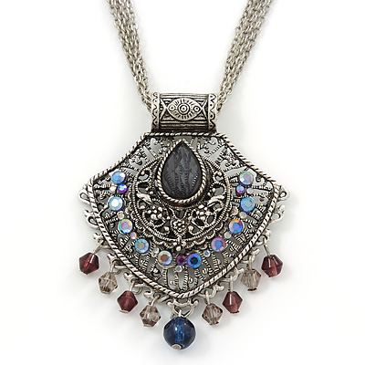Vintage Inspired Filigree, Grey, Blue, Purple Crystal Diamond Pendant With Pewter Tone Chains - 40cm L/ 5cm Ext - main view