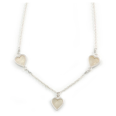 Romantic Mother of Pearl Triple Heart Necklace In Silver Tone Metal - 38cm Length/ 7cm Extension