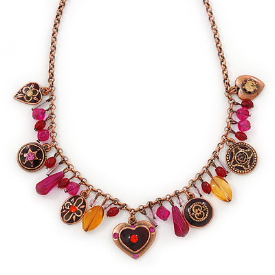Vintage Inspired Bronze Tone Glass Bead, Crystal Heart, Coin Charm Necklace - 38cm Length/ 8cm Extension