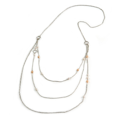 Long Delicate Beaded Layered Necklace In Silver Tone - 106cm L