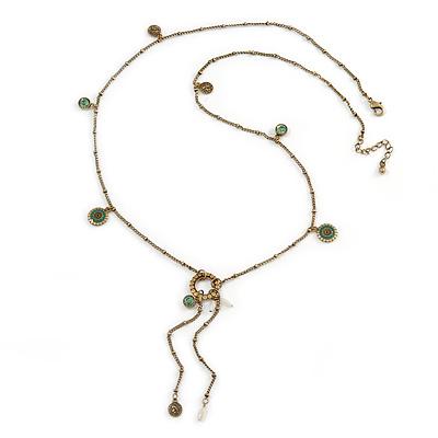 Vintage Inspired Charm, Tassel Necklace In Antique Gold Tone Metal - 80cm L/ 5cm Ext/ 10cm Tassel