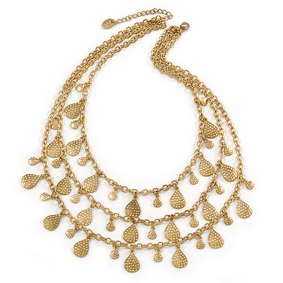 Vintage Inspired 3 Strand Necklace with Teardrop Charms In Antique Gold Tone - 50cm L/ 6cm Ext