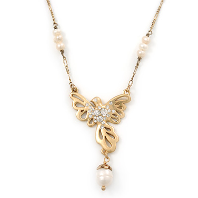 Crystal, Simulated Pearl Bead Dove Bird Pendant With Gold Tone Chain - 36cm L/ 8cm Ext - main view