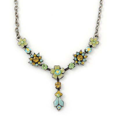 Vintage Inspired Green, Olive Enamel, Crystal Floral Y- Shape Necklace In Pewter Tone - 36cm L/ 4cm Ext