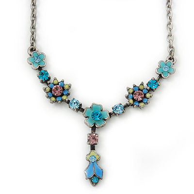 Vintage Inspired Blue Enamel, Crystal Floral Y- Shape Necklace In Burn Silver - 36cm Length/ 4cm Extension