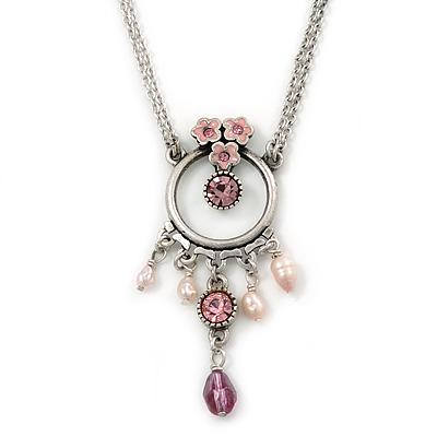 Pink Enamel Floral, Crystal, Freshwater Pearl Circle Pendant With Silver Tone Double Chain - 34cm L/ 5cm Ext
