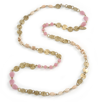 Vintage Inspired Dusty Pink, Nude Glass Bead and Antique Gold Coin Long Necklace - 100cm L