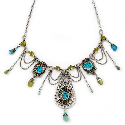 Vintage Inspired Light Blue, Olive Bead, Chain Charm Necklace In Pewter Tone - 32cm L/ 6cm Ext - main view