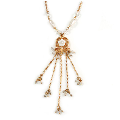 Gold Tone Glass Beaded Tassel with Chain Necklace - 40cm L/ 5cm Ext/ 9cm Tassel - main view